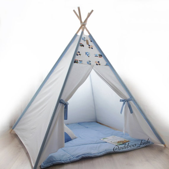 buy popular 7fc63 f2bd3 Teepee white blue, Kids teepee with mat, Play tents for kids, Tipi tent  kids, Boys teepee, Baby tent, Kids teepee tent, Nursery teepee