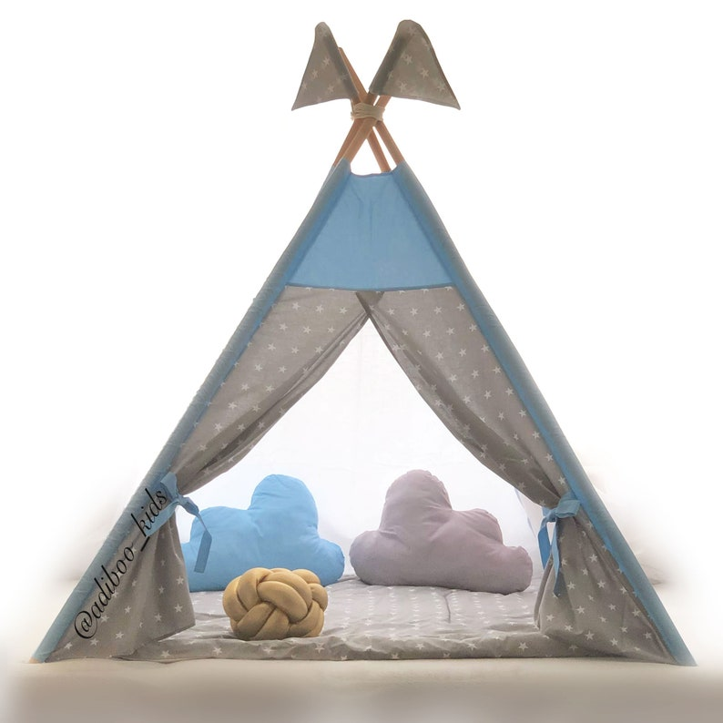 huge selection of 4c3ac 39093 Kids teepee with mat, Play tents for kids, Boys teepee tent with mat and  poles, Kids playhouse, Tipi enfant, Boys tent, Baby play tent
