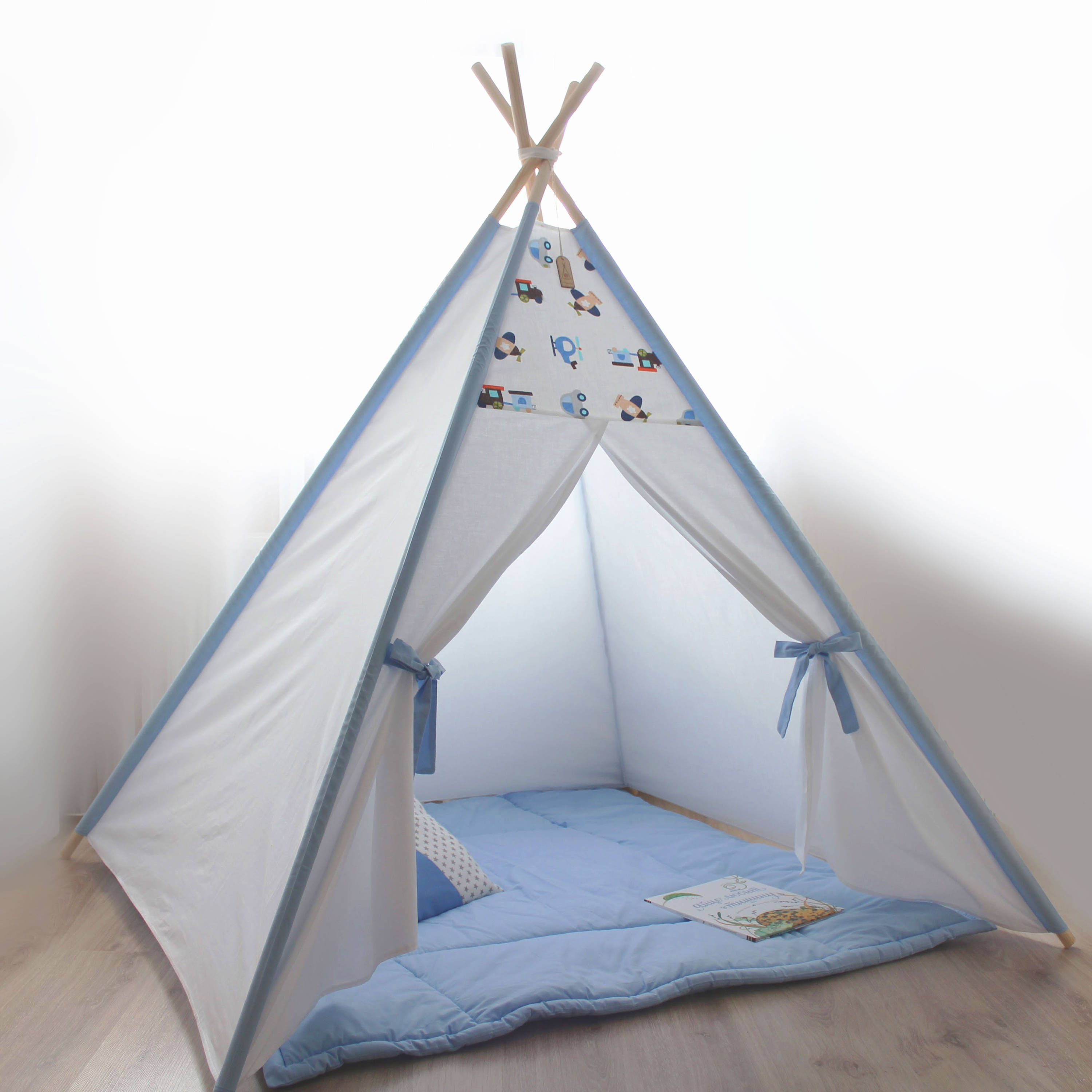 Kid Teepee Blue With Cars Tipi Garcon Bleu Tipi Zelt Kinder Etsy