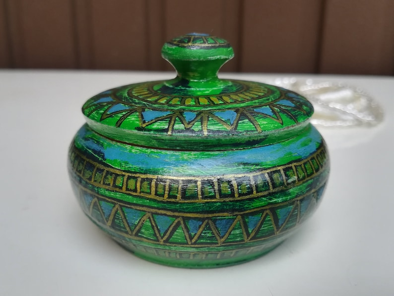 ORIGINAL Wooden Jewelry Box  Art Deco Hand Painted Linden Wood Jewelry Box Round Container Affordable Gift Boho Green Treasure Chest