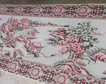 VTG Extra Large Chinese Pearl Cotton Tapestry, Old Chinese Monastery // Rare Luxury Zen Gobelin, Authentic Asian Scenery Throw, 6.5x2.8 Ft