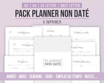 PACK PLANNER NON Daté | Perpétuel | Inserts à imprimer | Calendrier annuel, planner mensuel, semaine, jour, planning, emploi du temps, notes