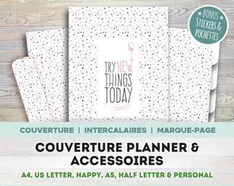 COUVERTURE PLANNER & ACCESSOIRES, à imprimer, couverture, intercalaires, marque-page, stickers, A4, A5, Letter, Half letter, Happy, Personal