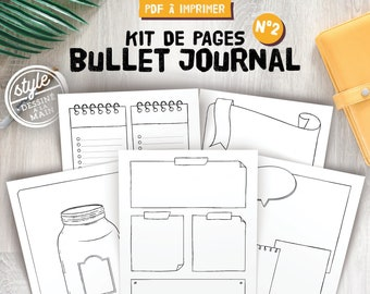 Pages bullet journal à imprimer et personnaliser, 9 modèles vierges ou à points pour notes et listes, inserts pour planner format A4 et A5