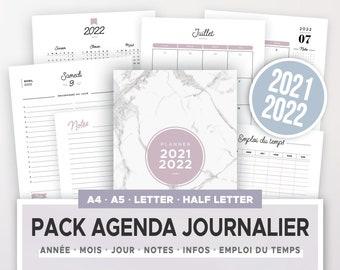 Kit agenda journalier 2021 2022 à imprimer incluant calendrier annuel et mensuel, planner quotidien & autres recharges d'organiseur A5 et A4