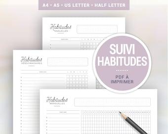 Suivi des habitudes à imprimer pour organiser sa routine hebdomadaire, les tâches mensuelles ou habitudes annuelles, pages planner A4 ou A5