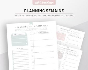 Planner semainier non daté à imprimer, PDF éditable pour recharge planner A5 ou A4 en français, 3 coloris inclus : rose, menthe et gris