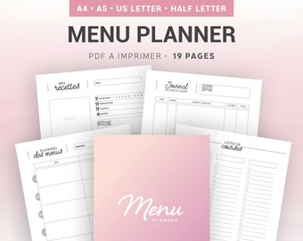 Planner menu imprimable pour gérer les planning repas, la liste courses ou les menus et recettes de cuisine, insert pour organiseur A4 et A5