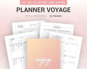 Planner voyage à imprimer pour organiser les séjours et les plannings de vacances, insert en français pour planner A5 ou A4