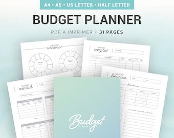 Budget planner à imprimer pour la gestion de comptes et le suivi financier mensuel et annuel, inserts pour organiseur de vie A4 et A5