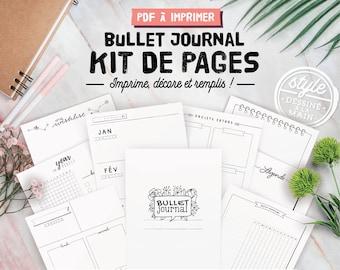 Bullet journal imprimable en français, kit de pages à personnaliser incluant inserts et planners essentiels pour débuter votre bujo, A4 & A5
