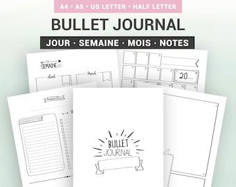 Bullet journal à imprimer en français, calendrier mensuel avec planner semaine et agenda journalier non datés, kit pour support A5 ou A4