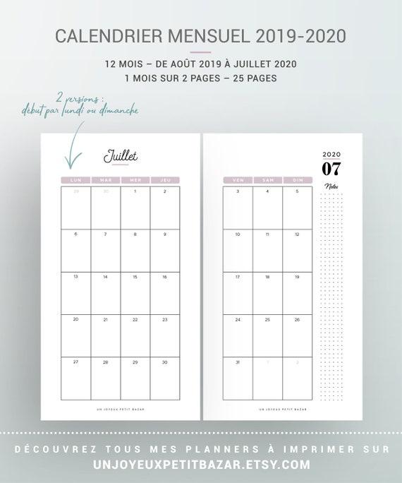 Calendrier 2019 2020 A Imprimer.Kit Agenda Semainier 2019 2020 A Imprimer Avec Calendrier Annuel Et Mensuel Planner Semaine Recharge Pour Organiseur Personal Et A6