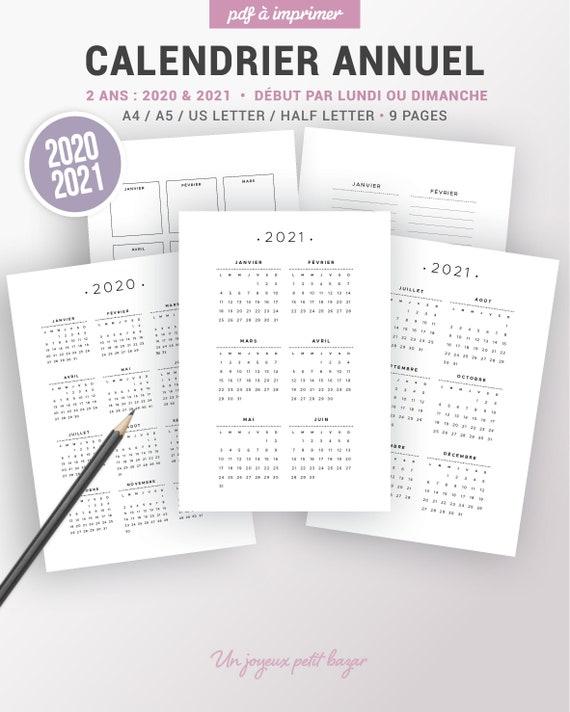 Calendrier Concours Ring 2021 Calendrier annuel 2020 et 2021 à imprimer et page de notes   Etsy