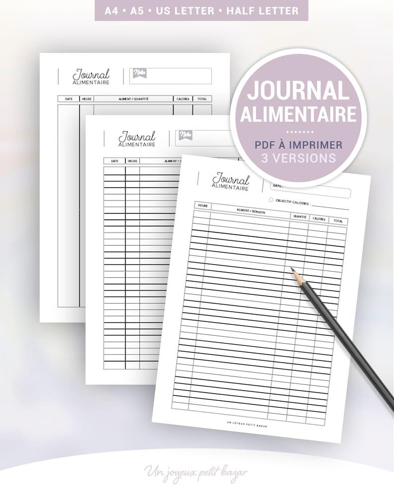 Journal alimentaire à imprimer pour le suivi journalier des image 0