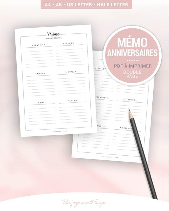 Memo Calendrier Anniversaire A Imprimer Pour Le Suivi Des Etsy
