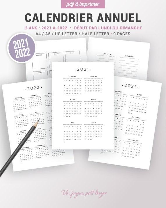 Calendrier Annuel 2019 Et 2022 à Imprimer Calendrier annuel 2021 et 2022 à imprimer et page de notes | Etsy