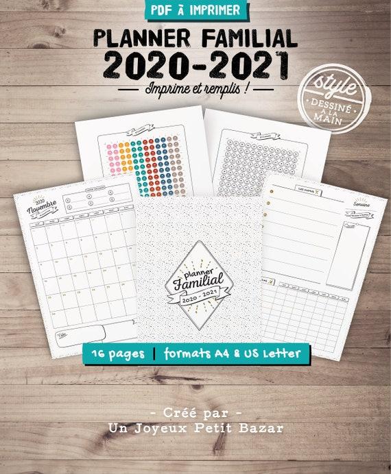 Calendrier Familial 2021 A Imprimer Organiseur familial 2020 2021 à imprimer planner de famille | Etsy