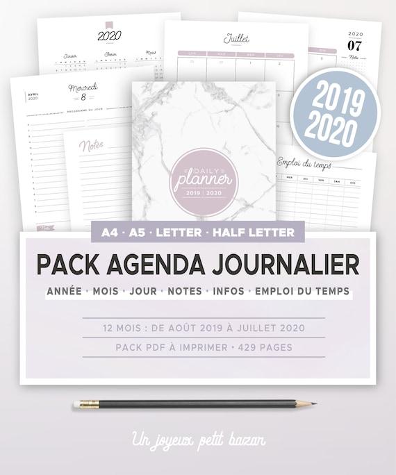 Calendrier Juillet 2020 A Imprimer Gratuit.Kit Agenda Journalier 2019 2020 A Imprimer Incluant Calendrier Annuel Et Mensuel Planner Quotidien Autres Recharges D Organiseur A5 Et A4