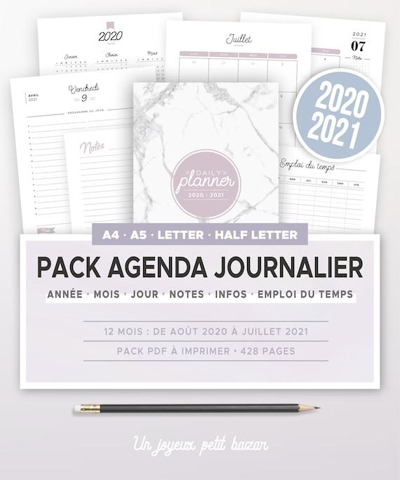 Kit agenda journalier 2020 2021 à imprimer incluant calendrier | Etsy