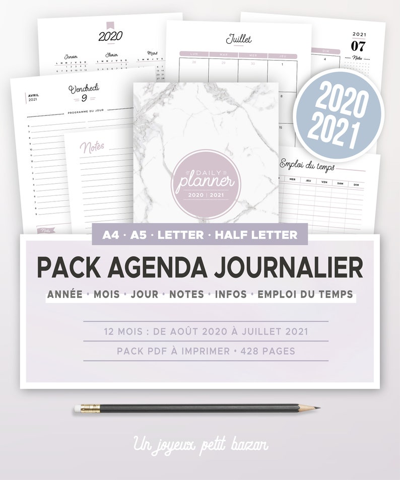 Kit agenda journalier 2020 2021 à imprimer incluant calendrier image 0