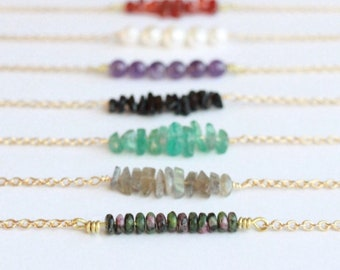 The Every Day Necklace with semiprecious gemstones or pearls