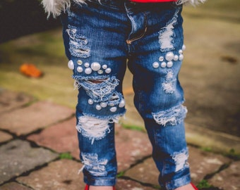 33b0d9b2c All blinged up Jeans - jewels pearls rhinestone jeans with holes shreds and  rips in light or dark wash for baby toddler and all girls!
