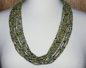 Multistrand Necklace in Greens & Blues