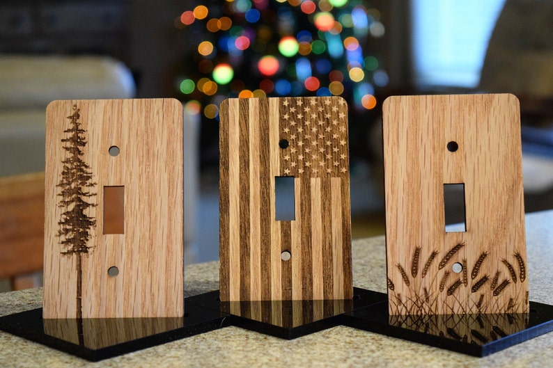 Engraved Wood Light Switch Cover Etsy