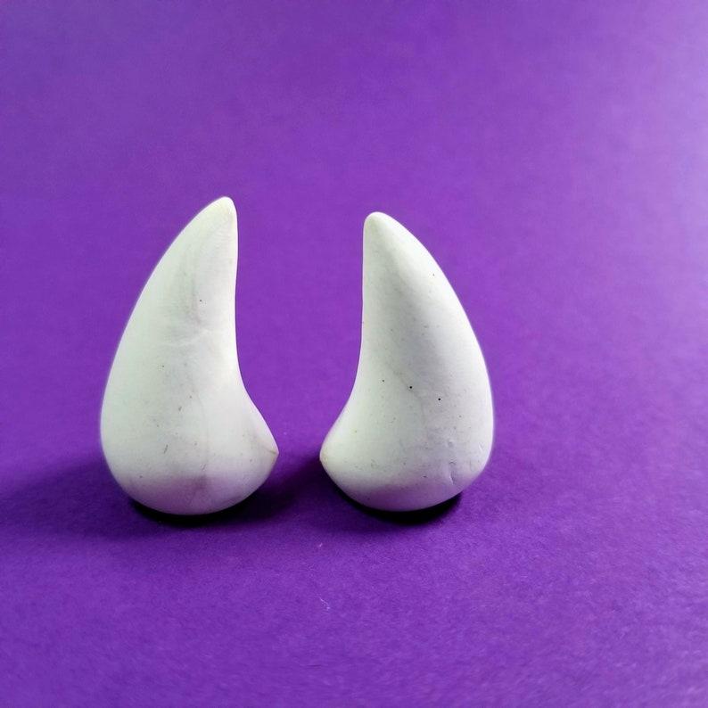 WHITE HORNS  Glue On  Devil Horns image 0