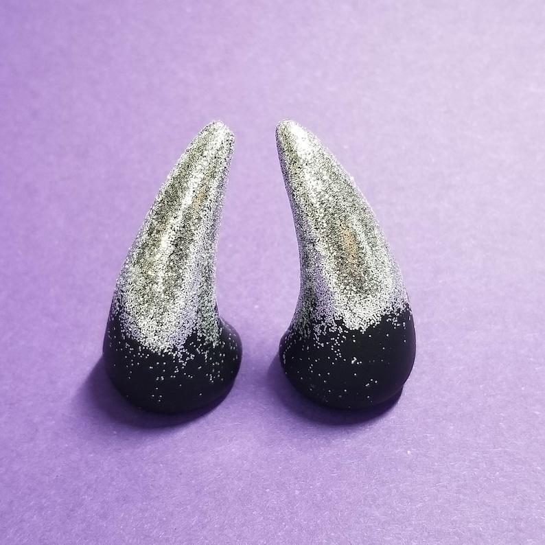 GLUE ON HORNS  Silver Tip Horns   Christmas Horns  Cosplay image 0