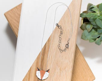 Fox necklace in natural wood (white/copper) and silver chain