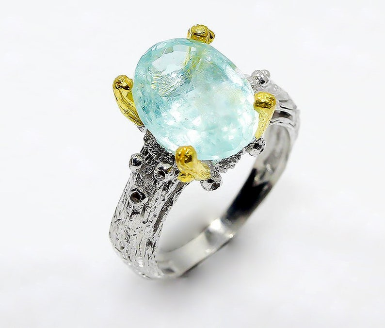 birthday gift sister daughter mom March birthstone ring for her Blue aquamarine ring solitaire branch statement for women blue gemstone