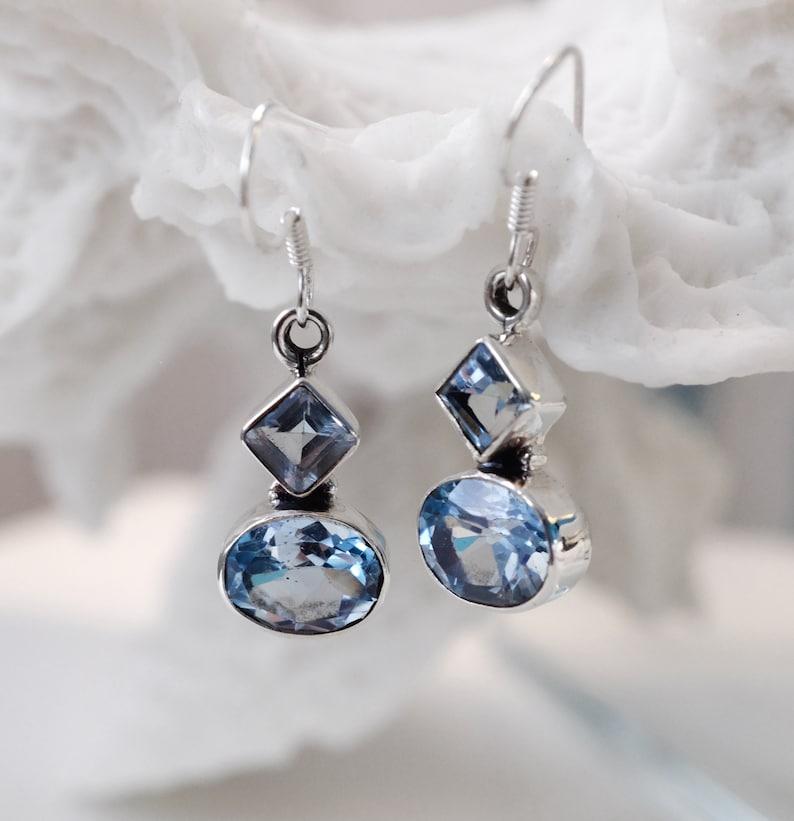 Blue topaz earrings silver natural gemstone earrings wedding bridesmaids gift November birthstone geometric boho