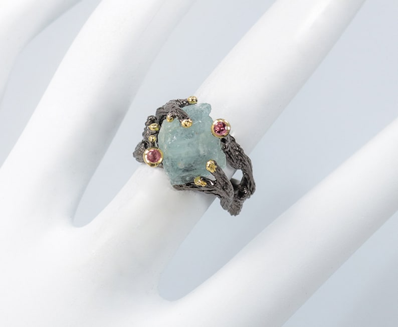 Rough Gemstone Ring Anniversary Gift Ring Aquamarine Ring Women/'s Day Gift Rough Aquamarine Ring 925 Sterling Silver Ring Ring For Her