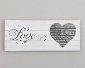 Love with a galvanized heart on a wood pallet sign distressed shabby chic wedding anniversary Valentine's Day gift