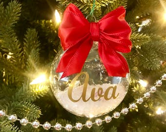 NEW Personalized Christmas Plastic Disk Ornament Bulb Red Bow Family Name