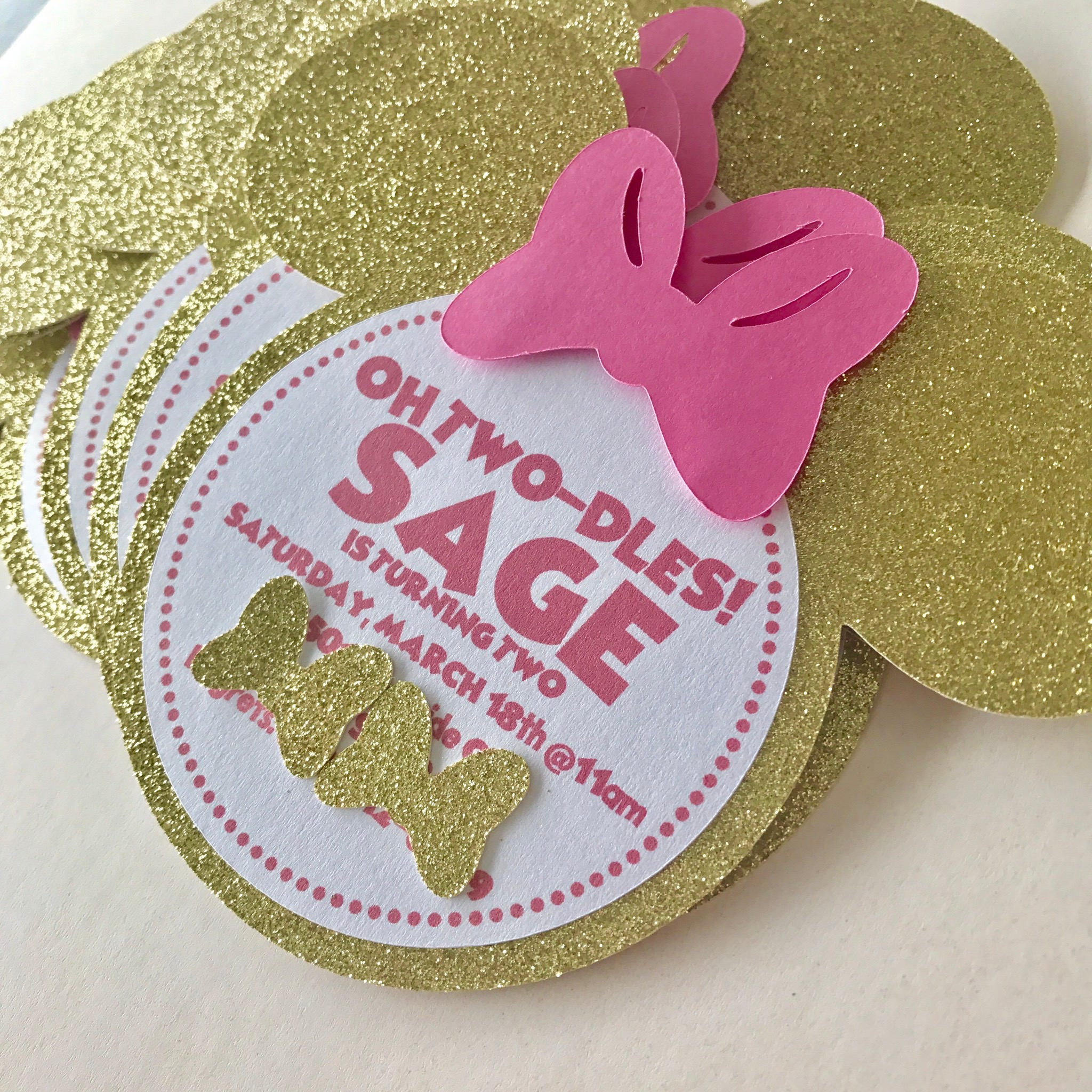 Minnie Mouse Pink and Gold Glitter Sparkle Birthday Party