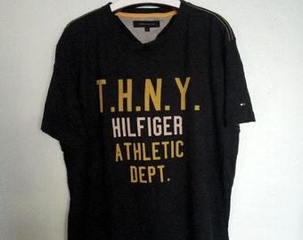 Vintage Tommy Hilfiger New York T.H.N.Y Athletic Dept. Blue Black Colour Size XL