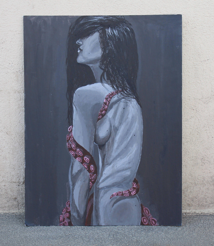 Acryl-Malerei Hässliche Frau mit Krake. Erotic Art | Etsy