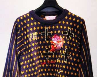 007cc4a325cd7 Kansai Yamamoto Collectible 80s Vintage Embroidery Fish Knit Sweater Made  in Japan Size M UK 12 EU 38