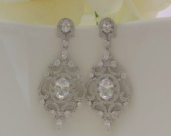 Bridal Gown, Bridal Chandelier Earrings, Bridal Earrings, Victorian Earrings, Wedding Jewelry, CZ Earrings, Wedding Accessories, Bridesmaid