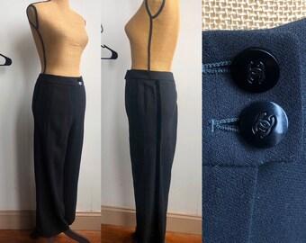 5f3dee170ea80 CHANEL Black Wool Tuxedo Stripe trousers sz 40