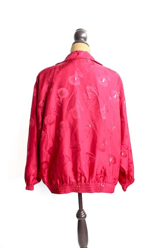 Vintage Silk Bomber Jacket FLORAL 90s Retro 100% … - image 5