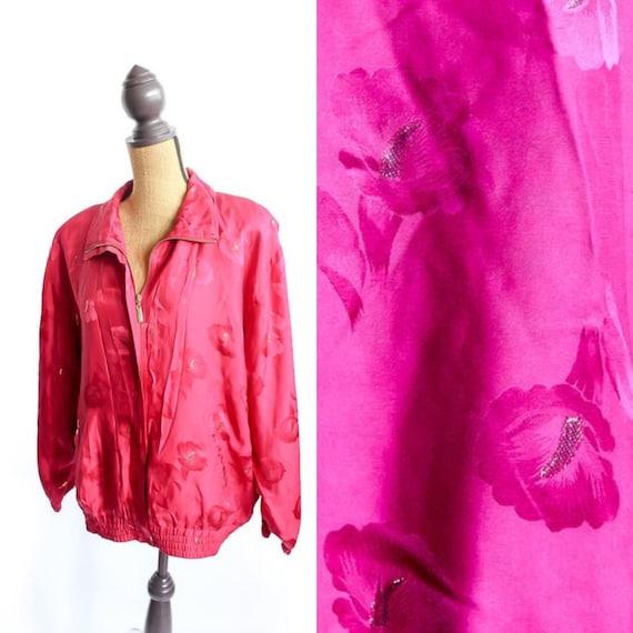 Vintage Silk Bomber Jacket FLORAL 90s Retro 100% … - image 1