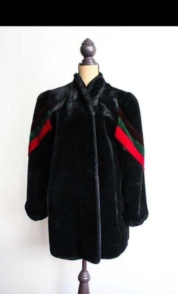 Vintage Faux fur coat/1970s black fur coat/fur coa