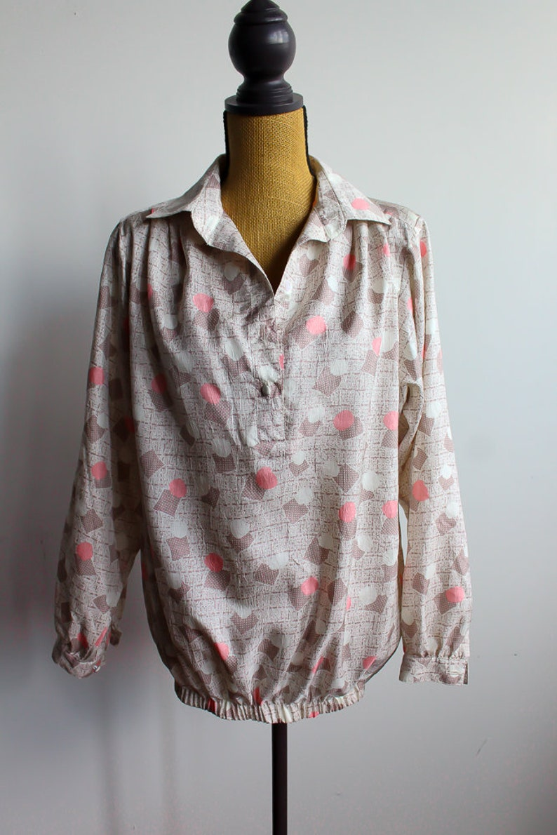 Geometric Pastel  Blouse 90s Boho Pullover Top Shirt Bohemian 1990s Vintage Boho Hippie Long Sleeve Extra Large