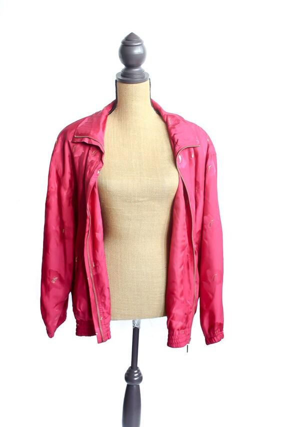 Vintage Silk Bomber Jacket FLORAL 90s Retro 100% … - image 3
