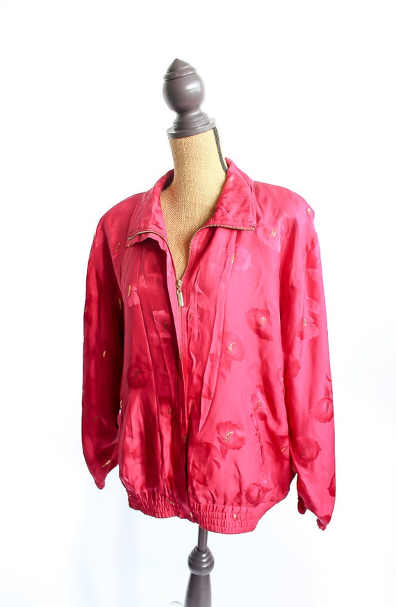 Vintage Silk Bomber Jacket FLORAL 90s Retro 100% … - image 2