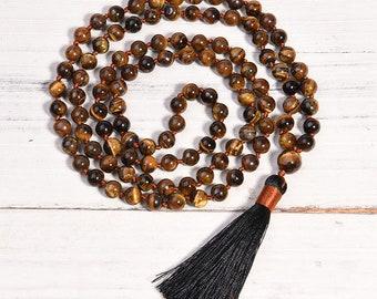 Tiger Eye Meditation Mala - Tiger's Eye Mala, 108 bead mala, Meditation mala, Kundalini, Healing, handcrafted